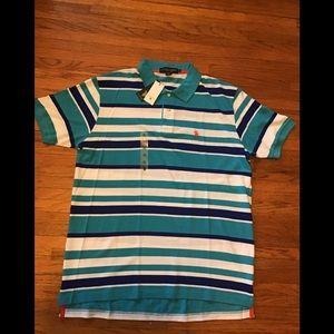 Other - NWT Men's Polo Shirt  blue white striped size XL